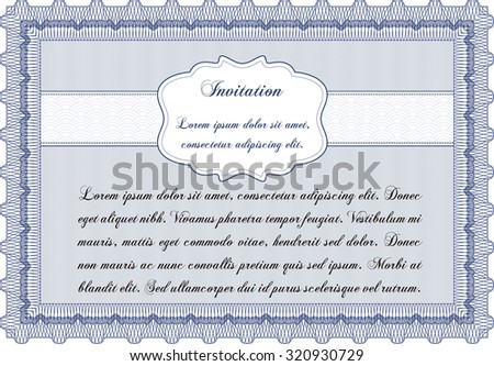 Vintage invitation template. With guilloche pattern and background. Customizable, Easy to edit and change colors.Elegant design.  - stock vector