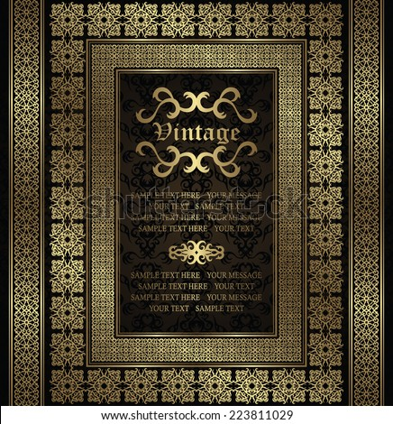 Vintage invitation with a gold frame and borders on seamless background       - stock vector