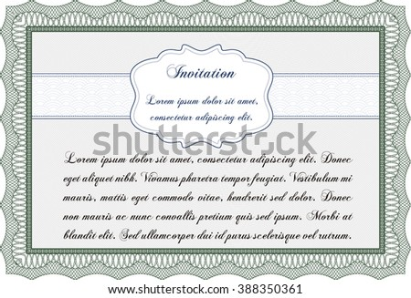 Vintage invitation. With complex linear background. Artistry design. Vector illustration.
