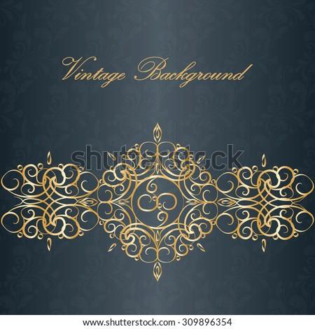 Vintage invitation floral ornaments black gold stock vector vintage invitation with floral ornaments in black and gold vector stopboris Gallery
