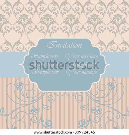 Vintage Invitation with floral ornaments in blue and beige. Vector