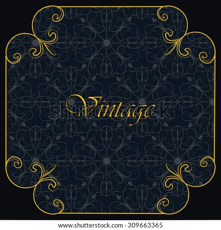 Vintage Invitation with floral ornaments in dark blue and gold. Vector - stock vector