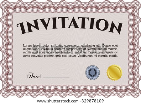 Vintage invitation. With quality background. Customizable, Easy to edit and change colors.Excellent design.  - stock vector