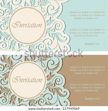 Vintage invitations with circle and floral elements. - stock vector