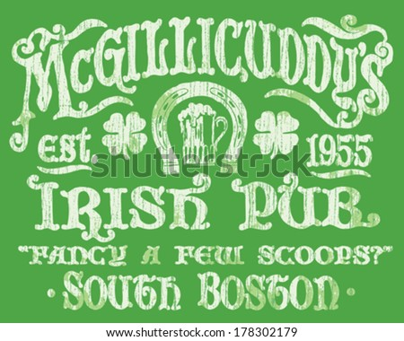 vintage irish pub sign t shirt graphic