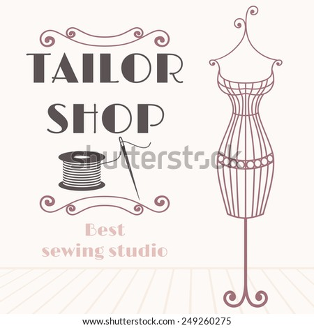 Vintage iron mannequin. Tailor shop background with sewing icon - stock vector