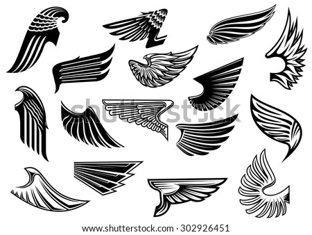 Vintage isolated heraldic wings set with detailed and abstract plumage, for tattoo or heraldry design - stock vector