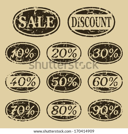 Vintage isolated sale icons set - stock vector