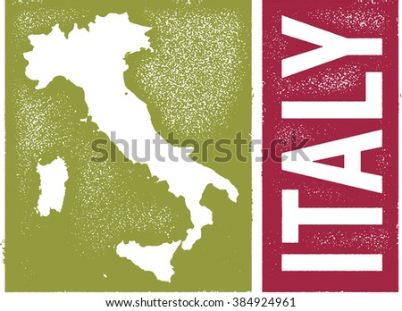 Vintage Italy Country Map - stock vector