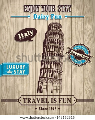 Vintage Italy Leaning Tower of Pisa travel vacation poster - stock vector