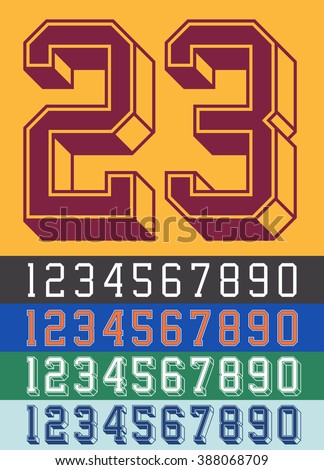 Vintage Jersey font numbers - stock vector