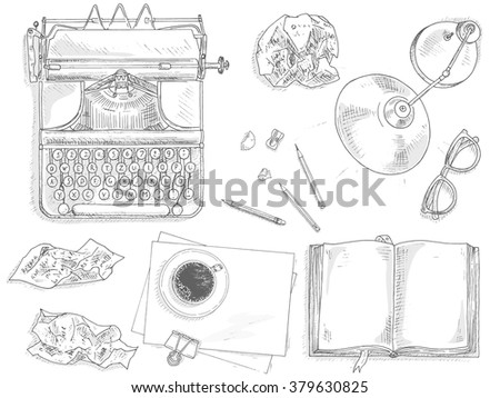 Vintage journalist set with vintage typewriter machine. Journalist equipment top view illustration. Nostalgia sketch. Hand draw journalism concept with: crumpled paper, table lamp, glasses and coffee - stock vector