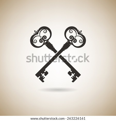 vintage keys on a light background - stock vector
