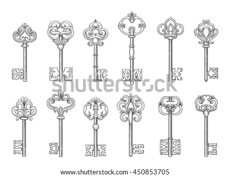 Vintage keys or victorian chaves line icons on white backgroud. Vector illustration
