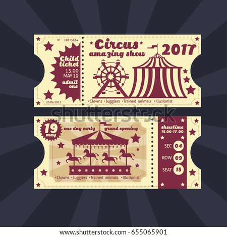 Travel Circus Retro Entry Tickets 2 Vector 644628385 – Entry Ticket Template