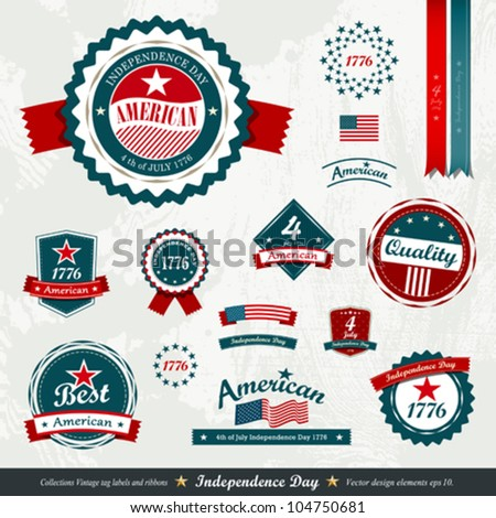 Vintage label and tag set, independence day. vector illustration - stock vector