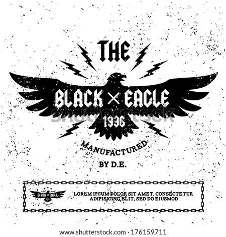 """vintage label """" black eagle"""" - stock vector"""