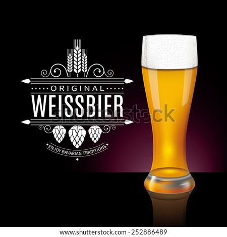 Vintage label design and glass of Weissbier, traditional Bavarian beer. Vector - stock vector