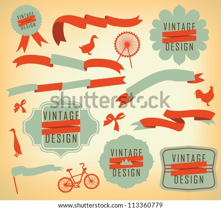 Vintage label design elements - stock vector