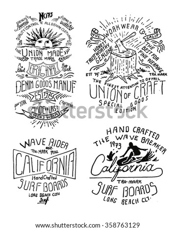 vintage label drawing - stock vector