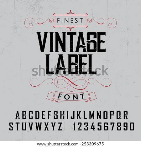 Vintage label font and sample label design with decoration and ribbon - stock vector