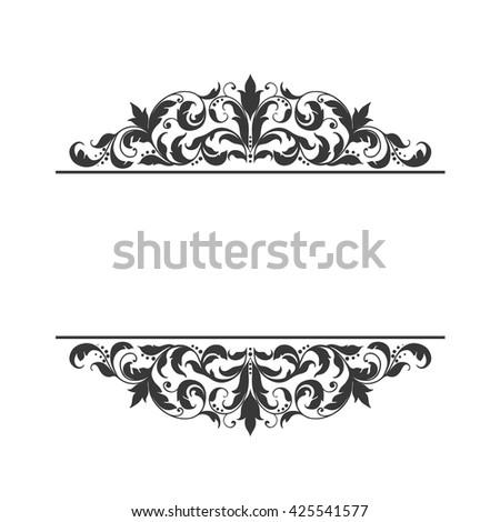 black vintage frame design. Vintage Label Frame Design Elements In Victorian Style For Restaurant Menu Forms, Certificates And Page Black \