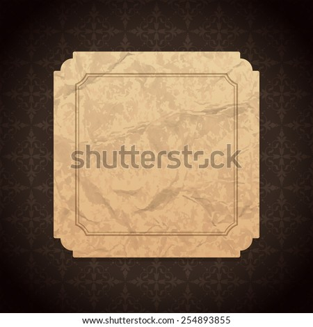 Vintage Label frame design old crumpled paper texture and ornament pattern vector background - stock vector