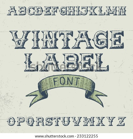 Vintage label hand drawn font with ribbon on dusty noise background - stock vector