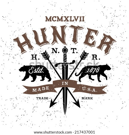 vintage label hunter ( T-Shirt Print ) - stock vector