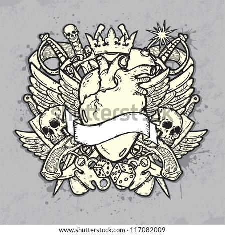 Vintage label on the grunge background - stock vector