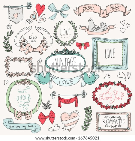 Vintage label set, Hand-drawn doodles and design elements, Ornate frames, banners and ribbons isolated in spring color. Romantic set of labels and ribbons - stock vector