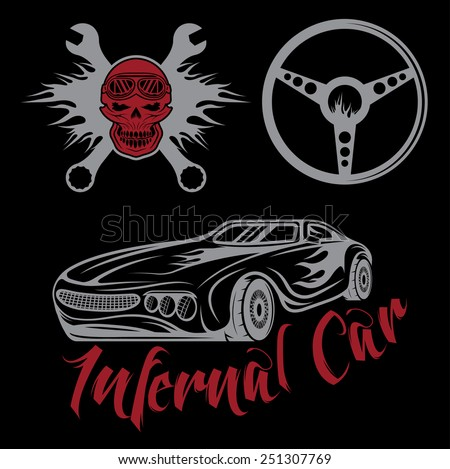vintage label sport car theme with car,flame,skull and wrenches - stock vector