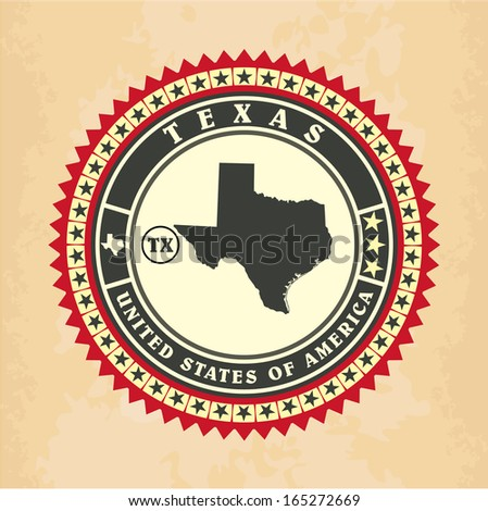 Vintage label-sticker cards of Texas, vector illustration - stock vector