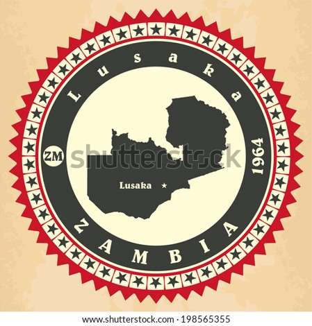 Vintage label-sticker cards of Zambia. Vector illustration - stock vector