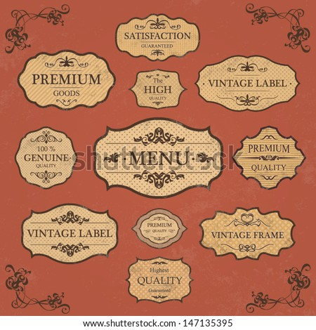 Vintage Label Style Collection / Floral Page Elements - stock vector