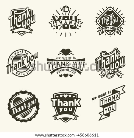 Vintage label Thank You text vector badge. Thank you text design label card lettering type banner symbol. Letter typography thank you badge logo decorative calligraphic message text.