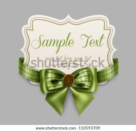 Vintage label with a green bow - stock vector