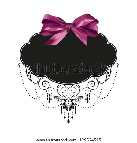 Vintage label with a purple bow - stock vector