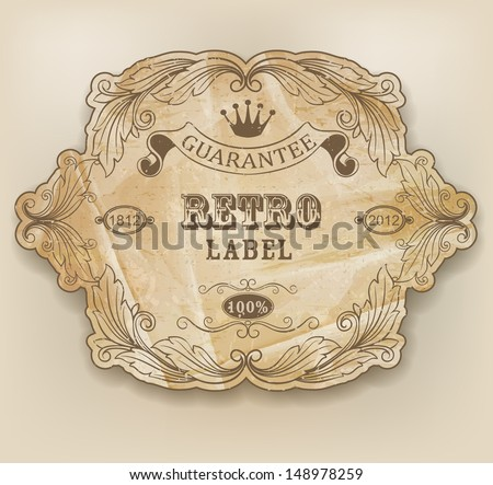Vintage label with design elements - stock vector