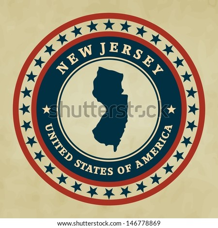 Vintage label with map of New Jersey, vector - stock vector