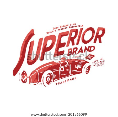 vintage label with  old car for apparel - stock vector