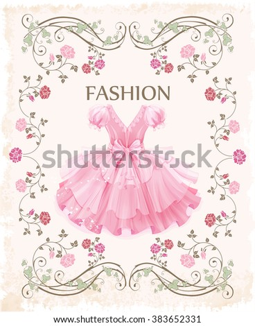 vintage label with pink dress - stock vector