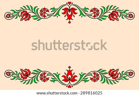 Vintage label with red and green traditional Hungarian floral motives - stock vector