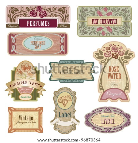 Vintage labels, All elements separately. - stock vector
