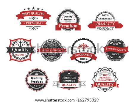 Vintage labels and banners set for quality or guarantee concept design - stock vector