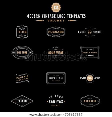 vintage labels logo templates bundle collection stock vector