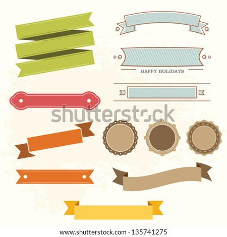 Vintage labels and ribbon retro design - stock vector