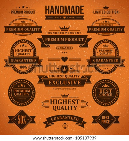 Vintage labels and ribbon retro style set. Vector design elements. - stock vector