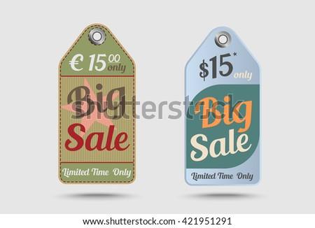 Vintage labels Big sale, Retro style cardboard.  - stock vector