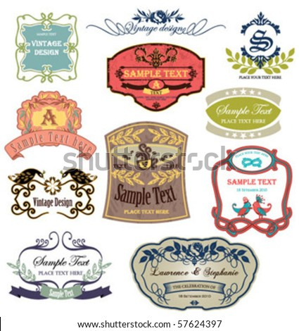 vintage labels collection 3 - stock vector